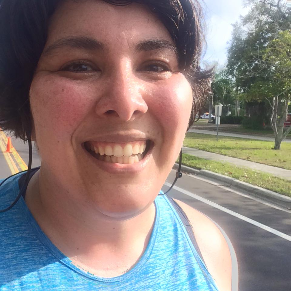 Attempting to smile at mile 10.